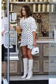 Olivia Culpo shows off legs in white dotted dress out in Los Angeles