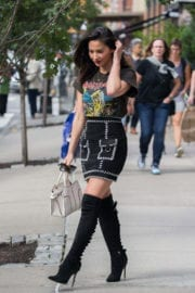 Olivia Munn wears Long Boots & Shows off Her Legs Out in New York
