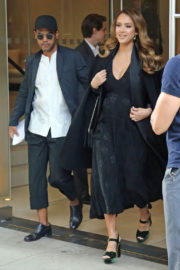 Pregnant Jessica Alba Leaves Her Hotel Early Morning in New York