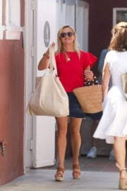 Reese Witherspoon wears Red Top & Short Skirt Out for a Business Meeting in Los Angeles