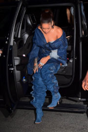 Rihanna wears One Side Off Shoulder Dress Out And About In New York City