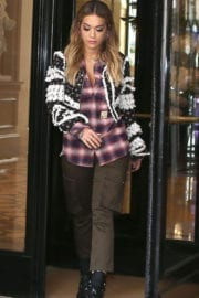 Rita Ora wears Checked Shirt & Cargo Pants Out and About in Paris