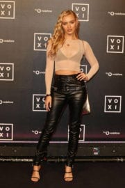 Roxy Horner flashes Her Bra in Transparent Top at Voxi Launch Party in London