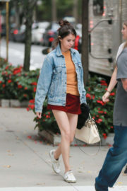 Selena Gomez shows off her Legs in Short Dress on the Set of a Woody Allen Movie in New York