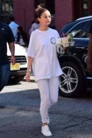 Selena Gomez wears All White Dress Up Out and About in New York