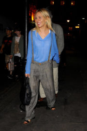 Sienna Miller wears Dungarees Dress Leaves Apollo Theatre in London
