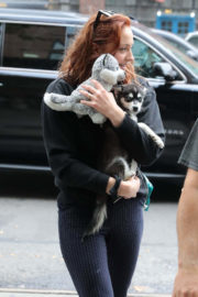 Sophie Turner Stills Out with Her Dog in New York