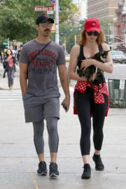 Sophie Turner with Joe Jonas Out with Their Dog in New York