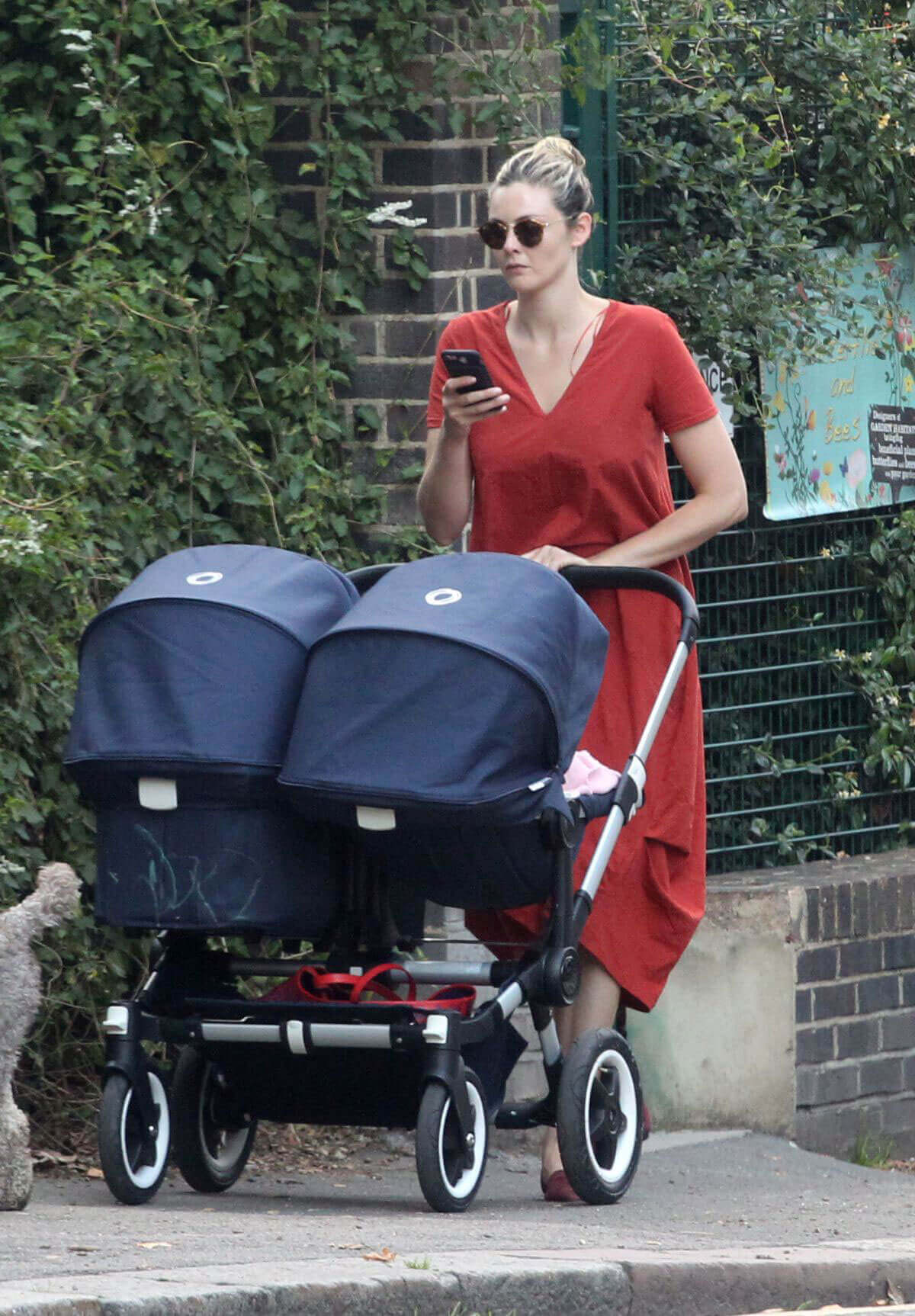 Tamsin Egerton Stills Pushes a Double Baby Pram Out in London