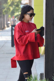 Vanessa Hudgens wears Red Top & Fittings Bottom Heading to a Gym in Studio City