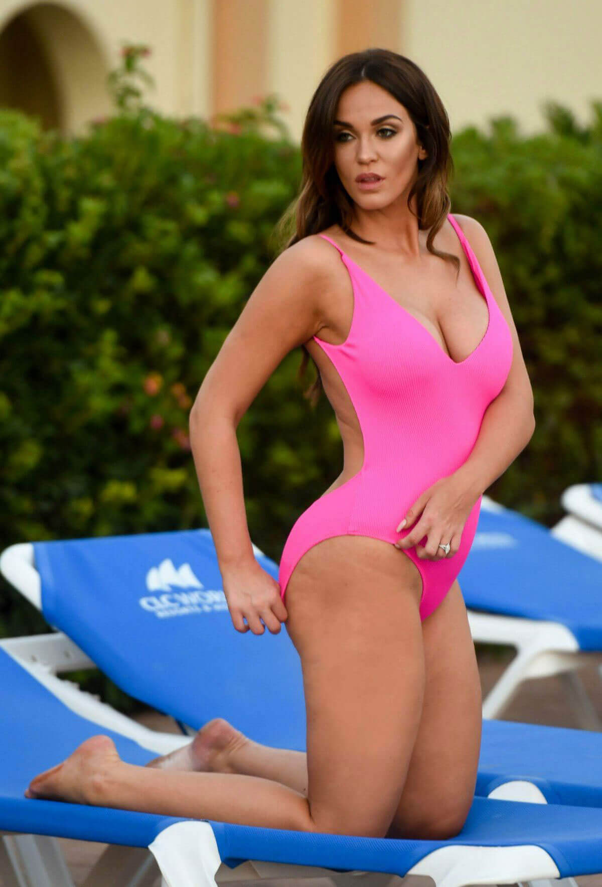 Vicky Pattison shows off Pink Swimsuit ata Pool in Marbella
