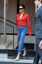 Victoria Beckham wears Chic Shirt & High- Waisted Jeans Leaved Her Hotel in New York