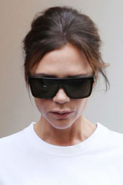 Victoria Beckham wears White Top & Black Pants Out in London