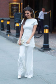 Victoria Justice wears Low Cut Back Dress Stills Out in New York