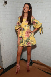 Victoria Justice wears Off Shoulder Dress at Marchesa Fasion Show at NYFW