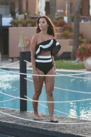 Yazmin Oukhellou Stills in Swimsuit at a Pool in Marbella