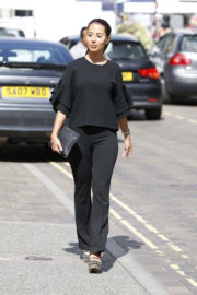 """Yazmin Oukhellou Stills on the Set of """"Towie"""" in Brentwood"""
