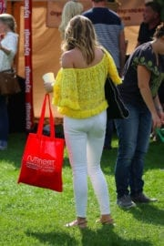 Zara Holland wears Yellow Top & White Jeans at Pupaid 2017 in London