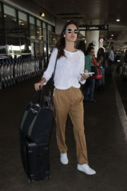 Alessandra Ambrosio wears White Top & Brown Lower at LAX Airport in Los Angeles