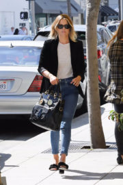 Ali Larter wears Black Jacket and Ankle Jeans at M Cafe in Beverly Hills