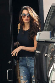 Amal Clooney wears Ripped Jeans at Skin Care Salon in Beverly Hills