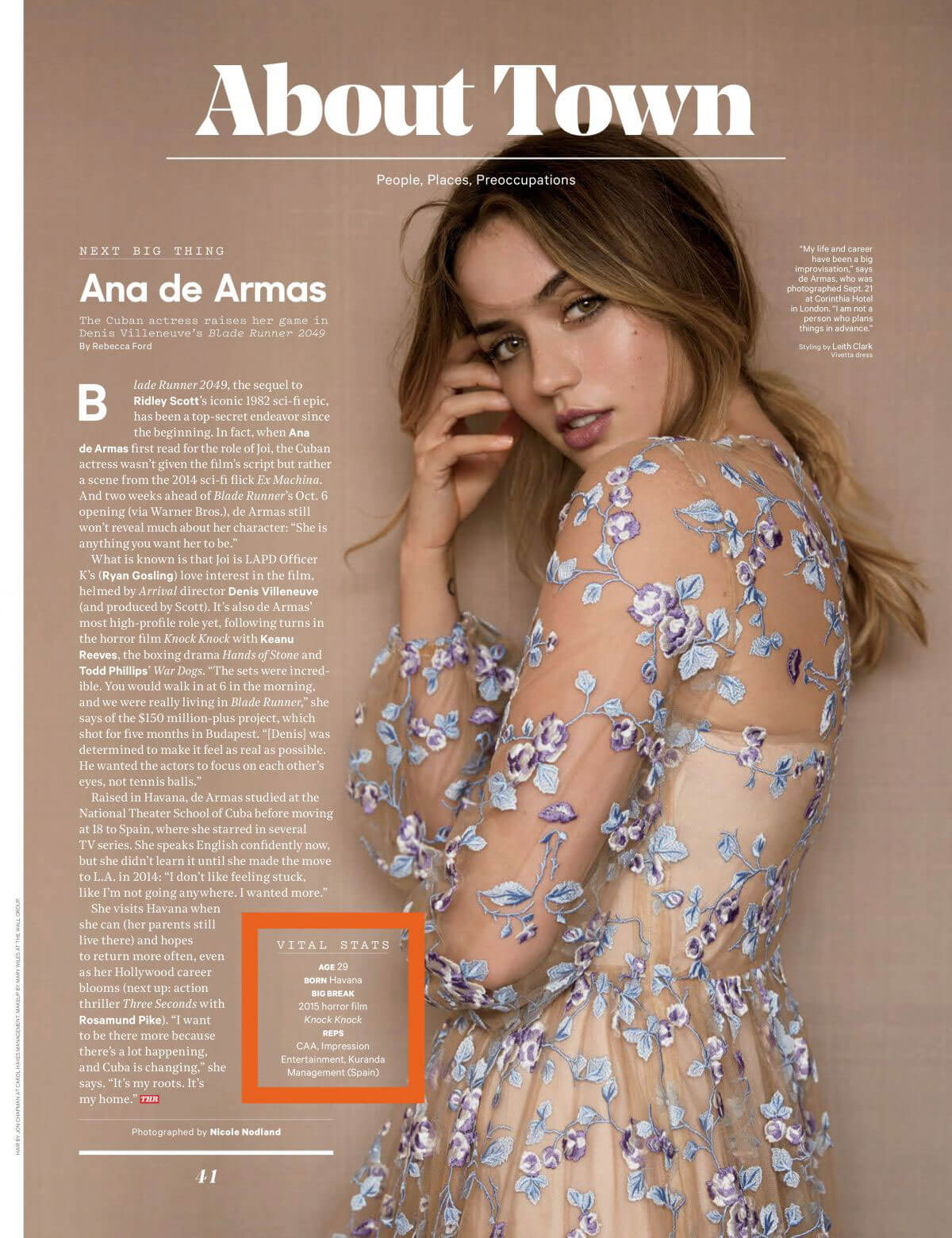 Ana de Armas Stills in The Hollywood Reporter Magazine, October 2017