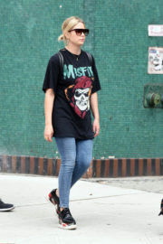 Ashley Benson wears Long T-Shirts and Tight Jeans Out and About in New York