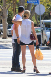 Ashley Greene wears Black Short Out for Lunch in Studio City