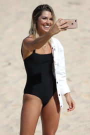 Ashley Hart in Swimsuit on the Set of at Photoshoot at a Beach in Sydney