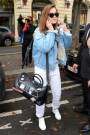 Barbara Palvin wears Denim Jacket Out and About in Paris