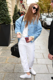 Barbara Palvin wears Denim Jackets Out and About in Paris