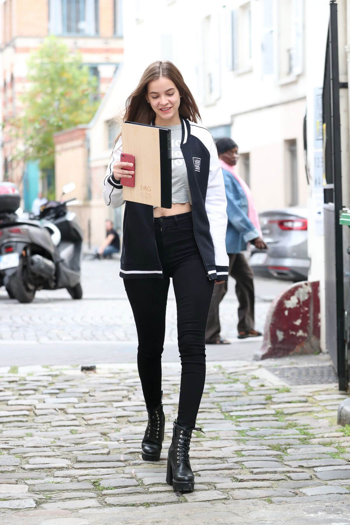 Barbara Palvin wears Jeans with Long Boots Stills Out and About in Paris