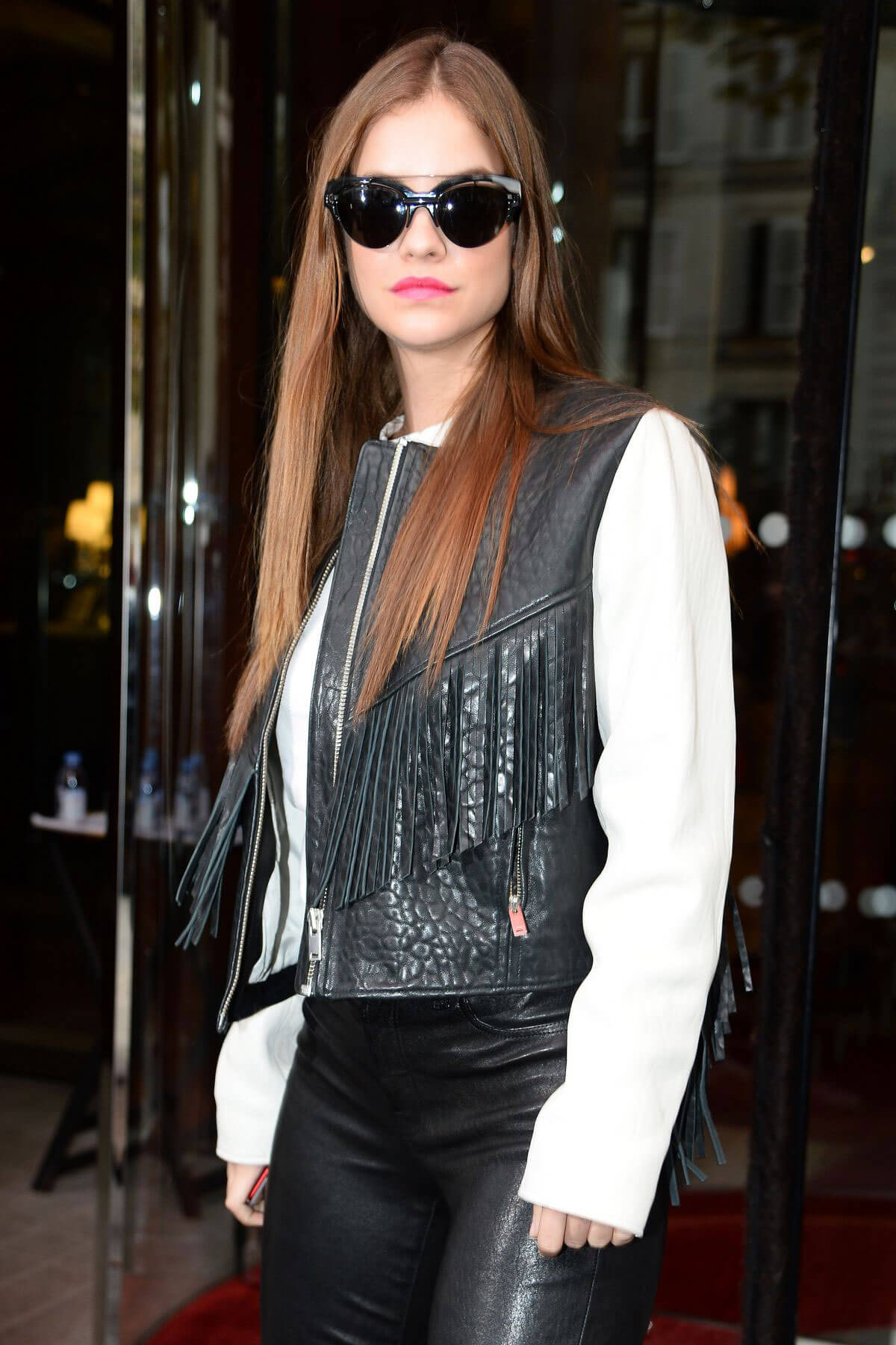 Barbara Palvin wears Leather Pants Out and About in Paris