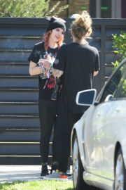 Bella Thorne wears Black T-Shirt & Lower Out and About in Los Angeles