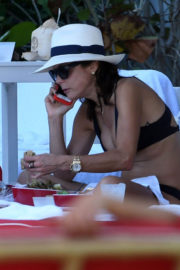 Bethenny Frankel show off cleavage in Bikini at a Pool in Miami
