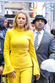 Blake Lively wears Yellow Dress at Good Morning America in New York