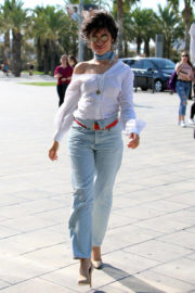 Camila Cabello wears White Top & Jeans Out and About in Barcelona