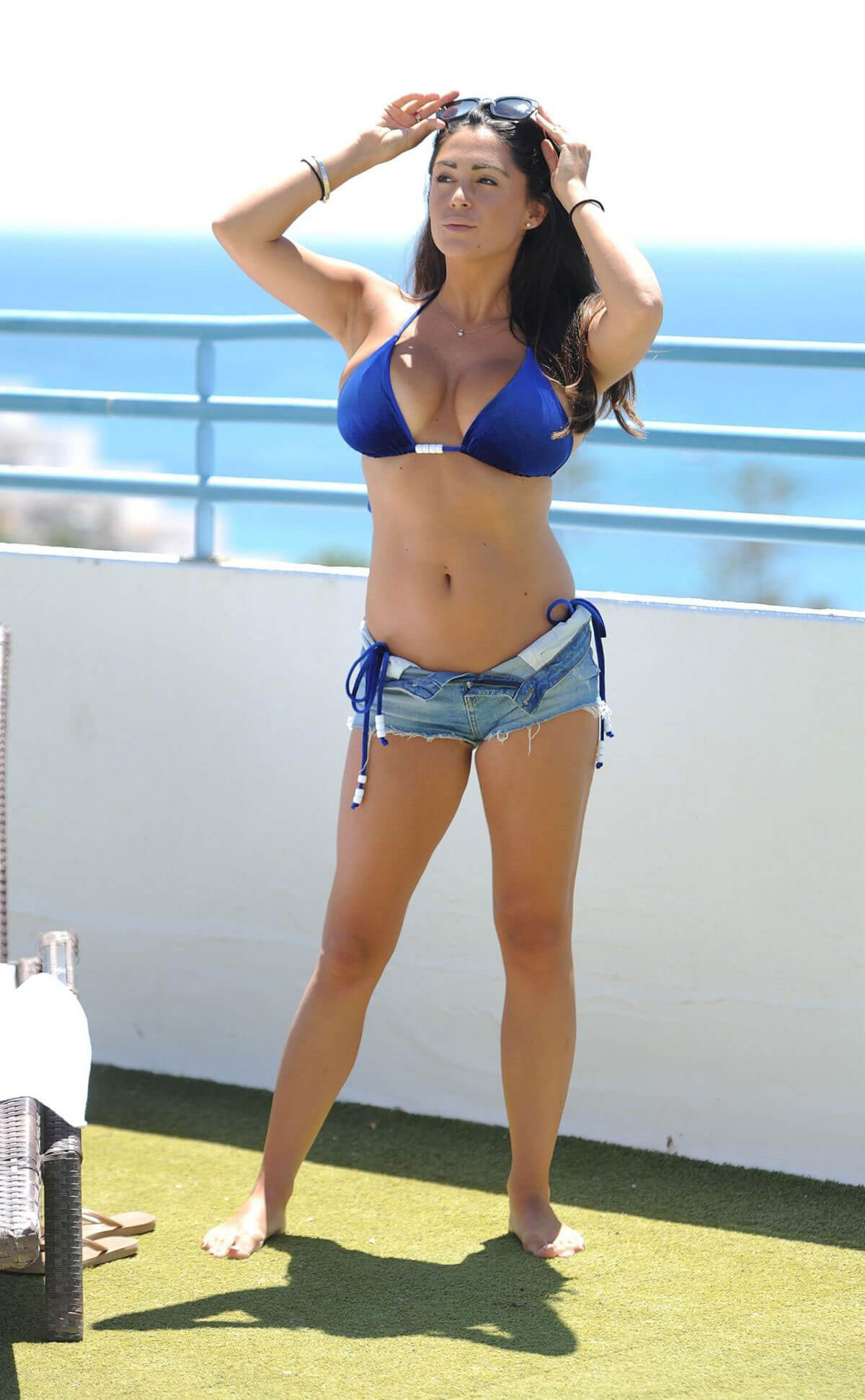 Casey Batchelor wears Navy Blue Bikini on Vacation in Cyprus