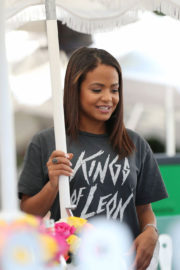Christina Milian wears Kings of Leon T-Shirt Out and About in Beverly Hills