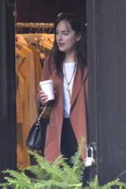 Dakota Johnson wears rust colored jacket out and about in New York