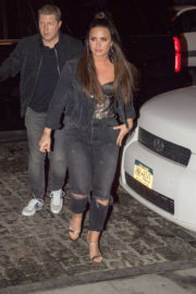 Demi Lovato wears Black Ripped Jeans Night Out in New York