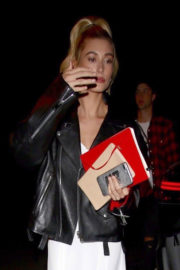 Hailey Baldwin wears Leather Jacket Night Out in New York