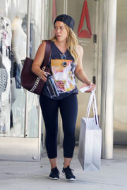 Hilary Duff wears tights leggings Out Shopping in Los Angeles