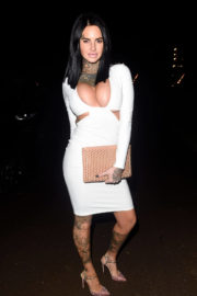 Jemma Lucy shows off Cleavage in High Nech Dress Night Out in Manchester