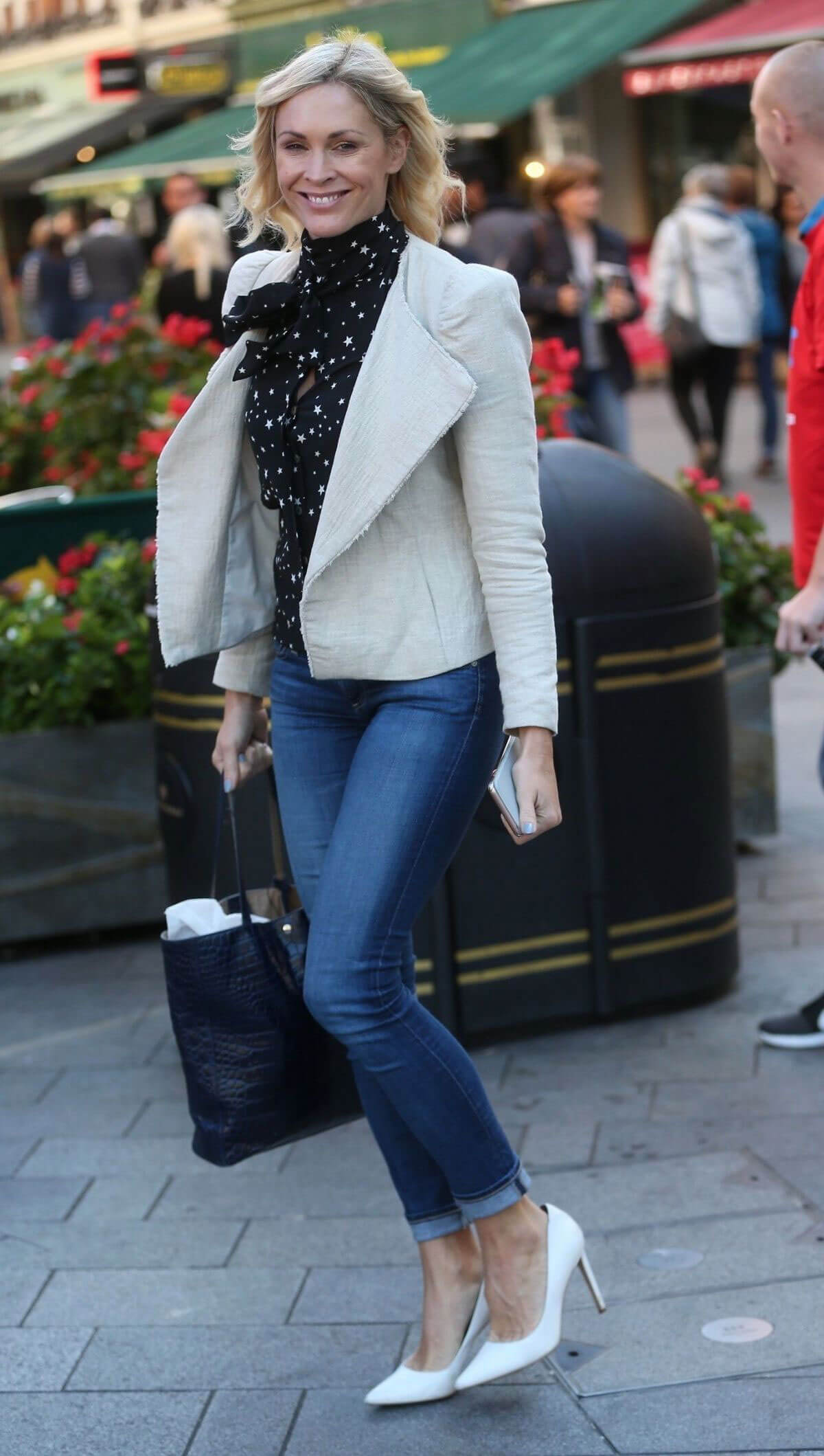 Jenni Falconer wears Tight Jeans at Global Radio in London