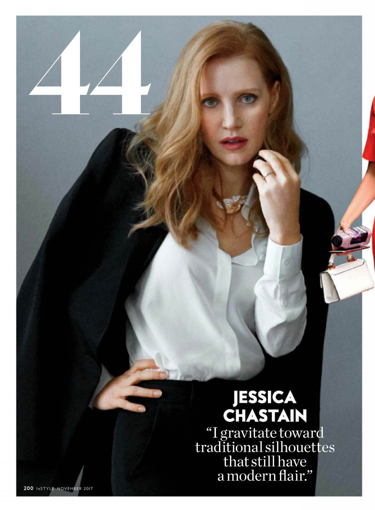 Jessica Chastain Poses in Instyle Magazine, November 2017