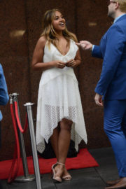 Jessica Mauboy Stills Promotes The Secret daughter at Sunrise in Martin Place in Sydney