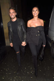 Jessica Shears wears Off Shoulder Dress at Smoke House Cellar Bar and Restaurant in Manchester