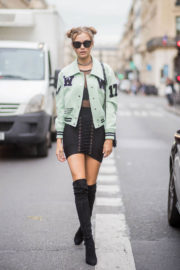 Josephine Skriver Shows off Legs Out at Paris Fashion Week