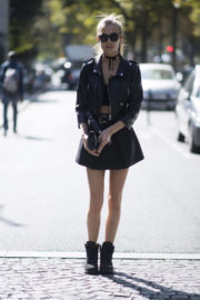 Josephine Skriver wears Short Skirt Out and About in Paris